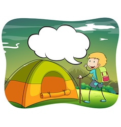 Boy hiking and camping out vector image vector image