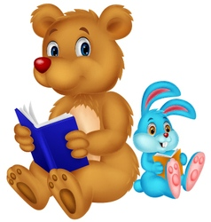 Cartoon bear and rabbit reading book vector image