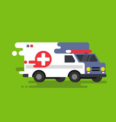 Emergency ambulance car in flat style vector