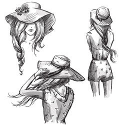 Girls in hats vector image