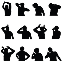 man in poses black silhouette on white vector image