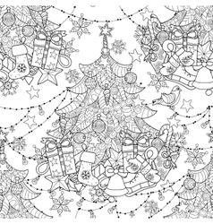 Merry Christmas zentangle fir tree gifts doodle vector image vector image