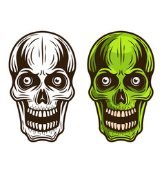 skull set of two styles monochrome and colored vector image