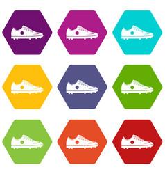 soccer shoe icon set color hexahedron vector image