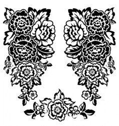 floral bw vector image