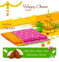 Gift of saree in Happy Onam vector image vector image