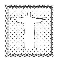 monochrome contour frame of christ redeemer with vector image vector image