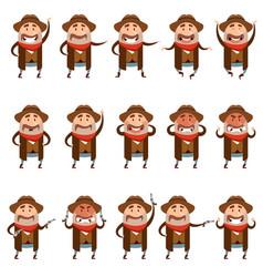 set of flat cowboy icons vector image vector image