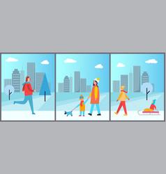 Snowy wintertime city park vector