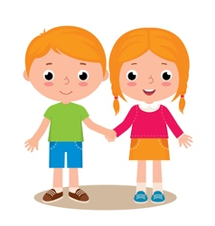 Two friends boy and girl vector image vector image
