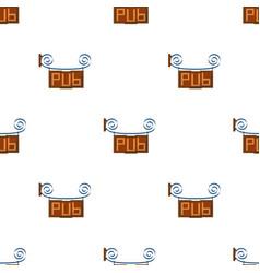 wooden pub signboard icon in cartoon style vector image vector image