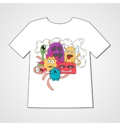Abstract hand drawn doodle monsters vector image