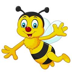 Cartoon bee waving hand isolated vector image vector image