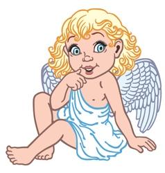 cartoon little angel vector image vector image