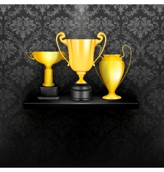 Cups on a black vector image