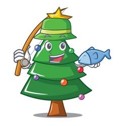 Fishing christmas tree character cartoon vector