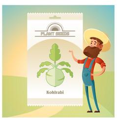 Pack of kohlrabi seeds icon vector