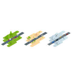 seth consisting of three isometric pictures road vector image vector image
