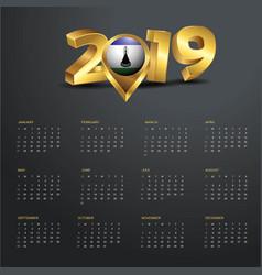 2019 calendar template lesotho country map golden vector image