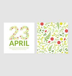 23 april greeting or invitation card template with vector