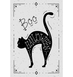 a cat with the word Halloween vector image vector image