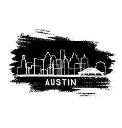 Austin texas city skyline silhouette hand drawn vector