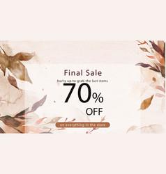 Autumn sale watercolor template fashion ad banner vector