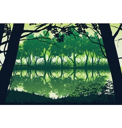 Background landscape with river and deep forest vector