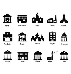 black government building icons set vector image