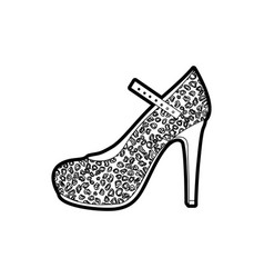 Black thick contour of high heel shoe with stain vector