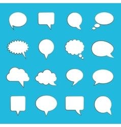 Blank empty white speech bubbles on blue vector