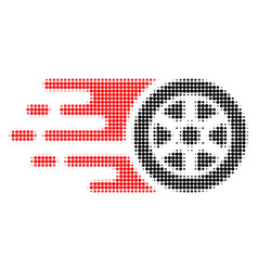 Bolide car wheel halftone dotted icon vector