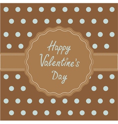 Brown ribbon and label word love Valentines Day vector