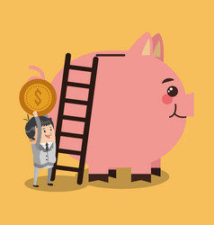 businessman inserting coin to piggy vector image
