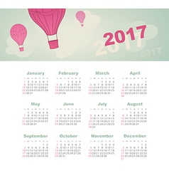 Calendar 2017 with balloon sky cloud aerostat vector