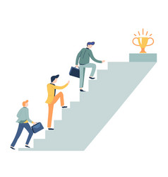career ladder and prize on top business concept vector image
