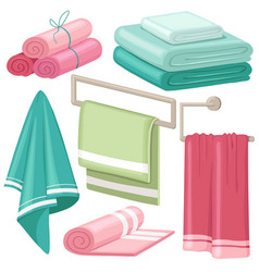 cartoon stack of bath towels roll of fluffy white vector image