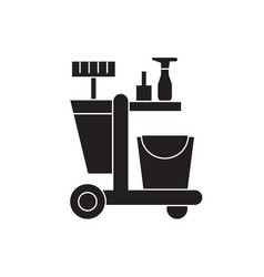 cleaning trolley black concept icon vector image