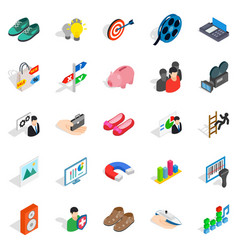 clever advertising icons set isometric style vector image