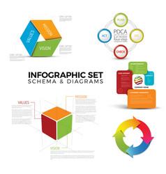 Collection of diagram schema templates vector