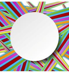 Colorful stripes and grey circle vector image