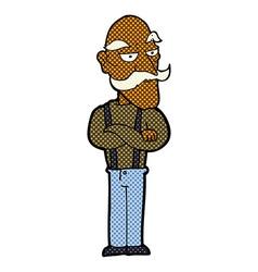 comic cartoon bored old man vector image
