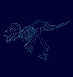 contour a dinosaur skeleton isometric view vector image