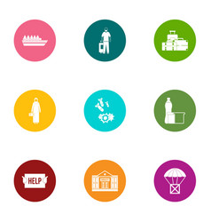 Conveyance icons set flat style vector