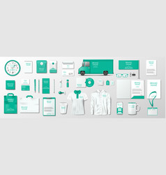 corporate brand identity mockup green color vector image