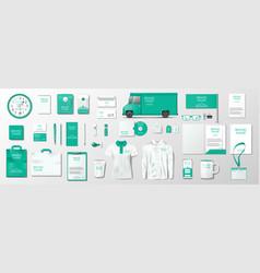 corporate brand identity mockup green color vector image