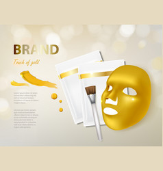 Cosmetic banner with gold facial mask vector
