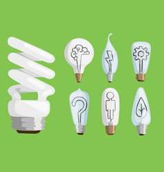 Creative idea lamps cartoon flat vector