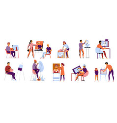 Creative professions flat icons vector