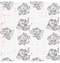 Cute baby elephants seamless pattern hand drawn vector